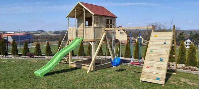Drewniany plac zaba Iwonka z piaskownicą dla dzieci do ogrodu!