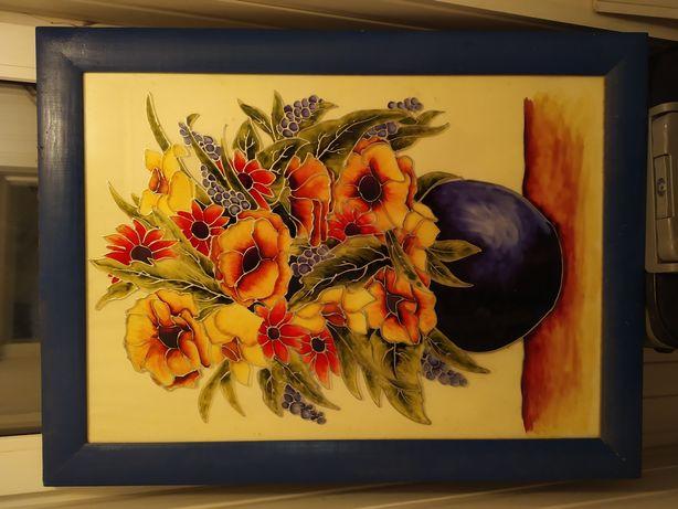 Витражная картина цветы,декор