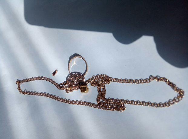 Золотая цепочка кулон и кольцо 585