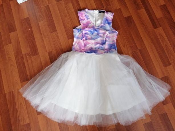 Spódnica tiulowa biała z bluzka Bik bok pudrowa niebieska 36 38 s m