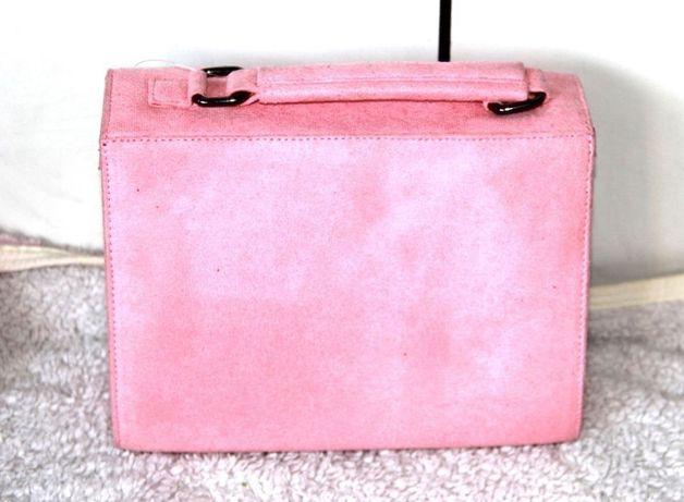 Rozowa torebka zamsz zamszowa kuferek skora wittchen venezia kazar