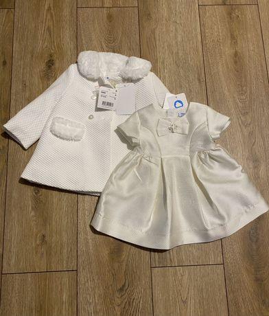 Komplet okazjonalny na chrzest/urodziny/slub płaszczyk sukienka