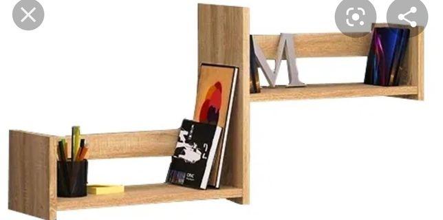 Półka na ścianę drewniane jasny brąz