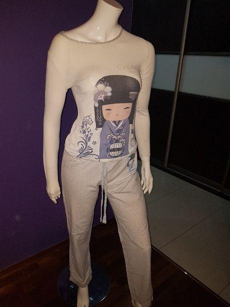 Kimmidoll PIŻAMA bluzka długi rękaw + spodnie Kokeshi R 36 S