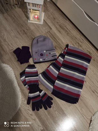 Komplet zimowy dziecięcy czapka szalik i rękawiczki