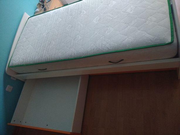 Cama branca de solteiro com 2 gavetões + estrado + colchão