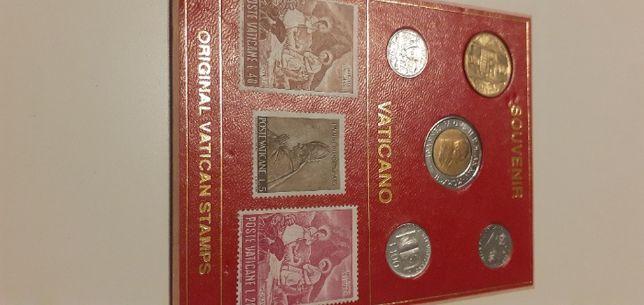 Souvenir Vaticano Zestaw pamiątkowych monet i znaczków