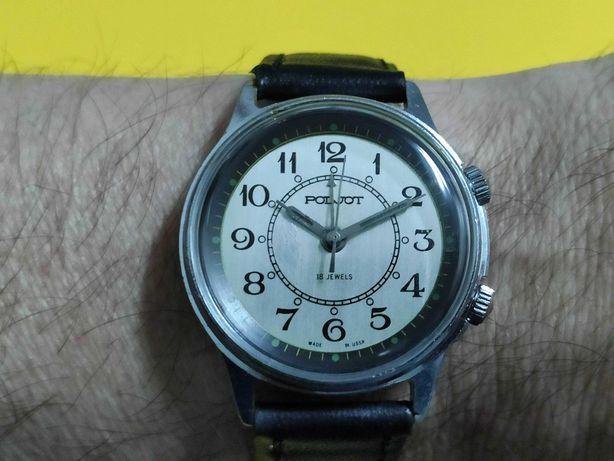Relógio antigo POLJOT alarme de corda manual