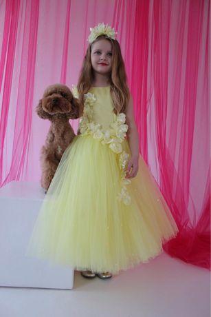 Лимонное красивейшее платье на выпускной