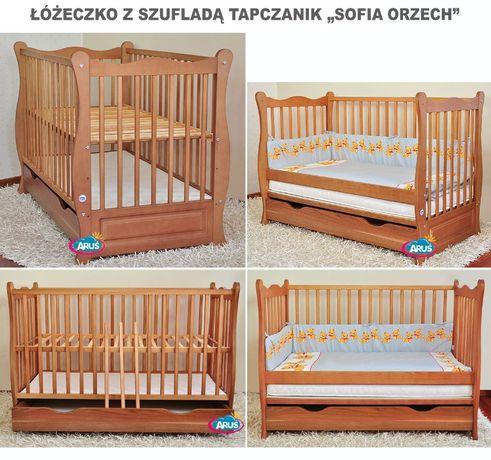 Łóżeczko z szufladą / tapczanik dla dziecka kolor orzech
