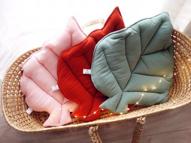 Poduszka dekoracyjna. Liść muślinowy. Handmade