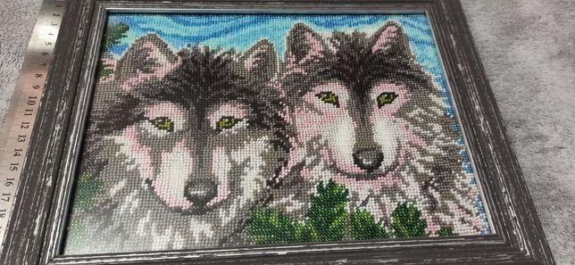 """Полная зашивка бисером """"пара волков"""""""