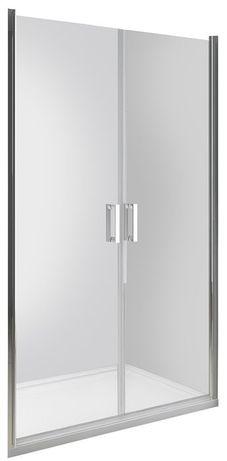 Drzwi prysznicowe wnękowe uchylne dwuskrzydłowe 110x190 cm na rolkach