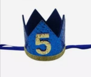 Coroa com elástico nr.5 azul - NOVA!