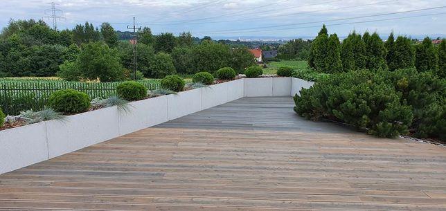 Donice z betonu architektonicznego wąskie 100x30x50h (balustrada)