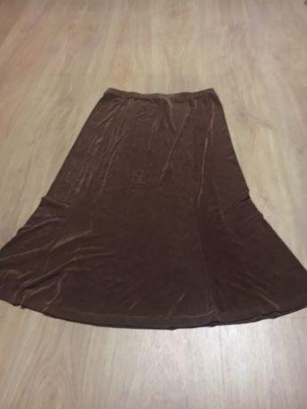 Jasnobrązowa rozkloszowana spódnica midi kim&co