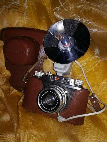 "Câmera vintage ""Halina 35 X SLR"" + Capa + Flash - 1960`s"