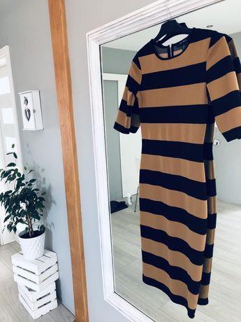 Sukienka midi do kolan długa musztardowa czarna