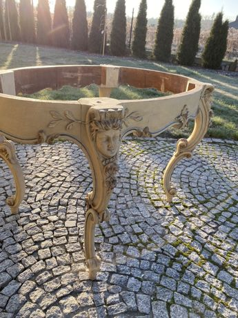 Piękny stół owalny stary rzeźbiony pałac