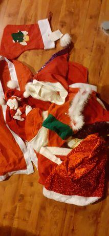 Zestaw akcesoriów na święta Bożego Narodzenia czapka Mikołaja worek