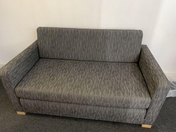 Sofa cama e dois individuais cinza em tecido
