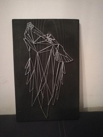 Obraz string art - jeleń / kot / buldożek / sowa / lis / wilk/ koliber