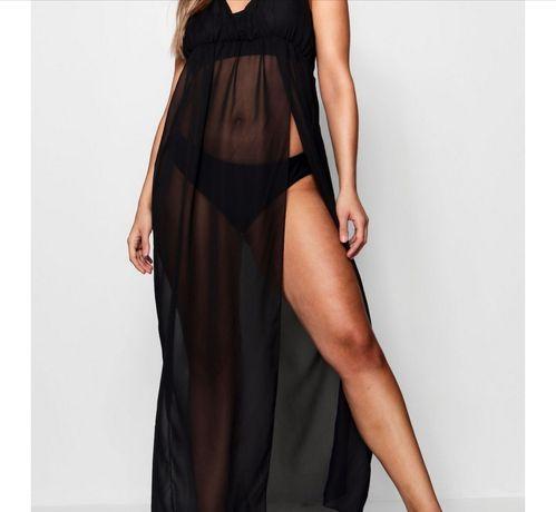 Czarna nowa maxi sukienka na plażę BOOHOO pareo 44 L /XL