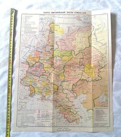 Карта европейской части ссср 1951г.