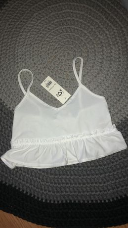 Bluzka top falbanki boho biała koszulka na ramiączkach butik