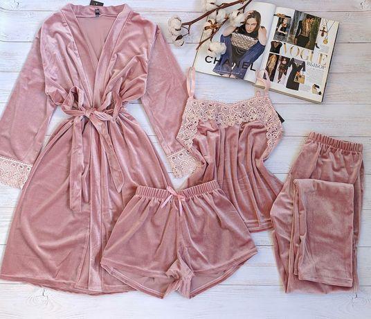 Велюровая пижама женская,комплект четверка,БЕСПЛАТНАЯ ДОСТАВКА, летняя