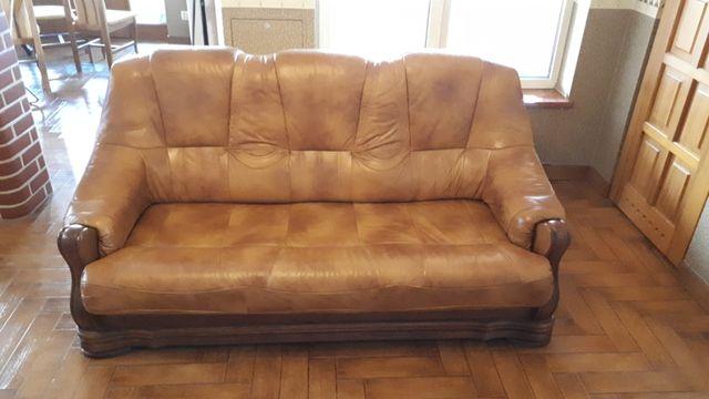 Kanapa, sofa 3-osobowa dębowa Pyka z funkcją spania