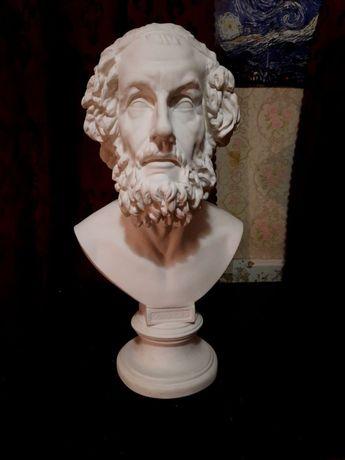 Гипсовый бьюст Гомера, голова Гомера, скульптура.
