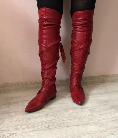 Сапоги ботфорты красные, натуральная кожа, низкий ход, острый носок