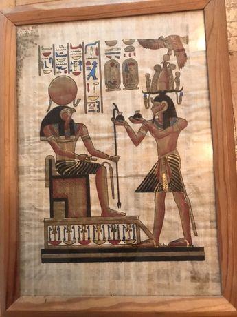 Rycina z motywem egipskiej mitologii obraz w szkle