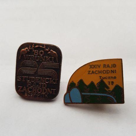 Odznaki 24 i 25 Studensckiego Rajdu Zachodniego Tuczno1979 ,Wronki1980