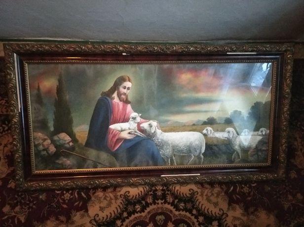 Stary duży religijny obraz Jezus z barankami