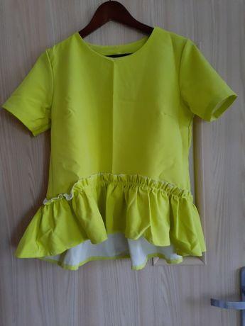 Limonkowa bluzka z baskinką, rozm S/M, idealna na lato