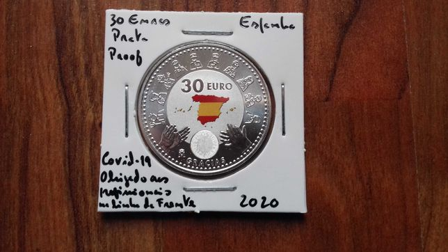 Moeda 30 Euros Espanha 2020 - Covid-19