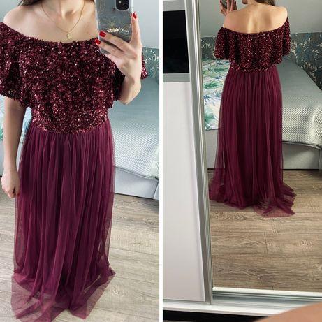 Bordowa sukienka hiszpanka maxi cekiny xs/s