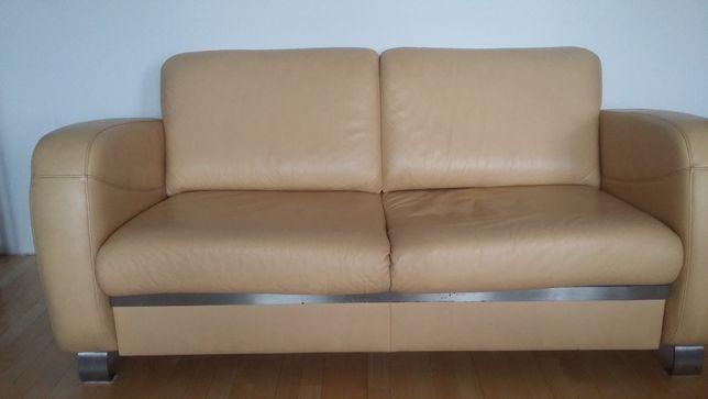 Sofa rozkładana KLER - prawdziwa skóra