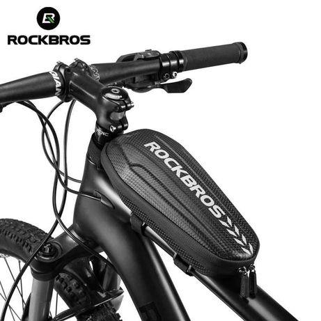 """Велосипедная сумка на раму RockBros B60 """"карбон"""" водонепроницаемая"""