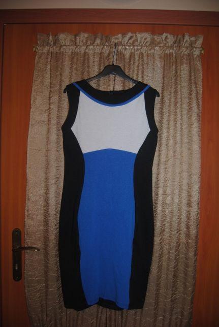 Sukienka czarno - kremowo - niebieska rozm. 36-38