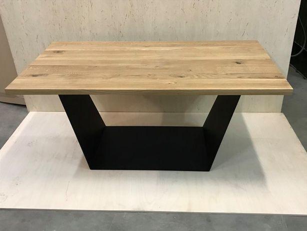 Stół dębowy loft / nogi metalowe / lity blat / ława / biurko
