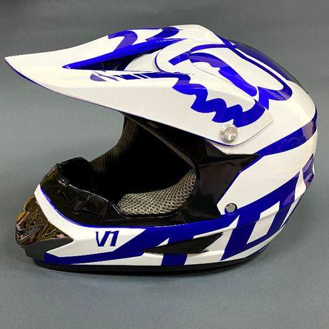 Шлем кроссовый Fox White размер М (57-58см)