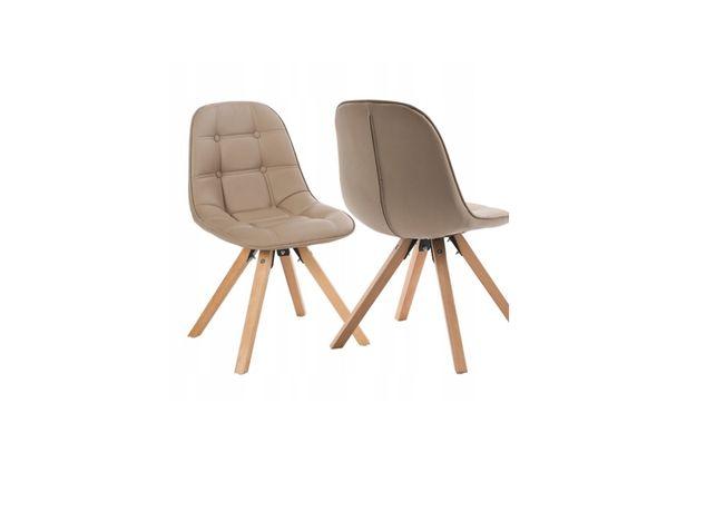 Krzesła do jadalni, kuchenne beżowe eko skóra drewniane nogi