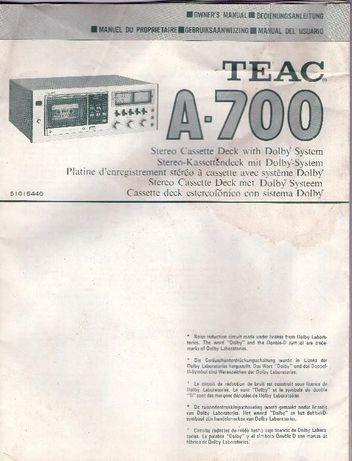 deck cassetes stereo TEAC A-700 - livro de instruçóes - muito raro