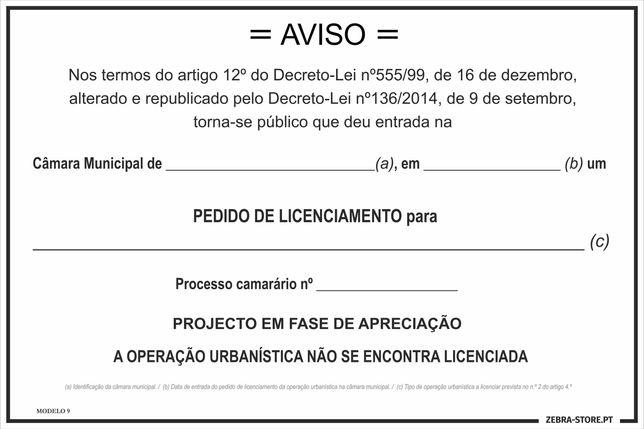 Placa de Pedido Licenciamento 1.2m x 0.8m