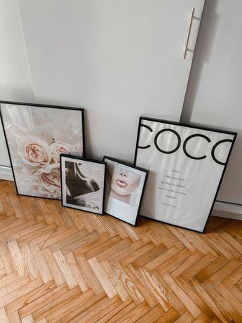 Duzy zestaw obrazow fashion plakaty + rama orginalne desenio chanel