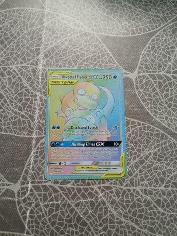 Carta Pokémon Slowpoke&Psyduck GX rainbow