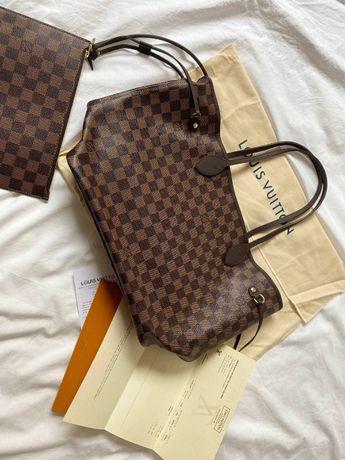 Torba Louis Vuitton Neverfull MM Damier Ebene brown cherry